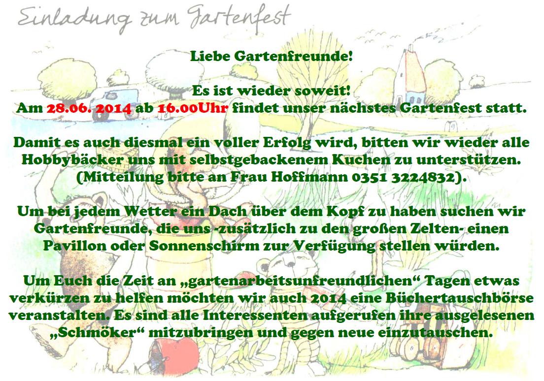 """kgda """"heideblick"""" radeberg e.v. - einladung gartenfest 2014, Einladung"""